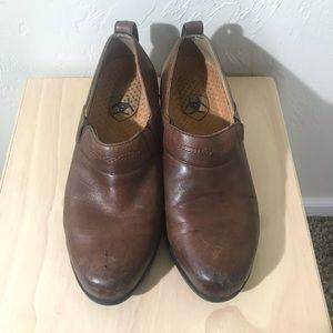 Ariat Brown Leather Work Clogs Size 6